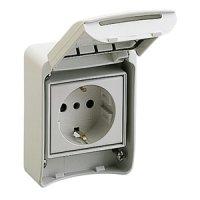 SCHNEIDER 81141 | Anbausteckdosen, grau, 2p+E, 10/16A,...